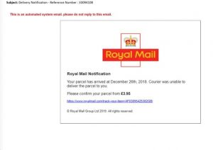 scam emails looking like Royal mail notifications