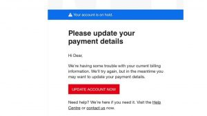 e-mail asking for payment details