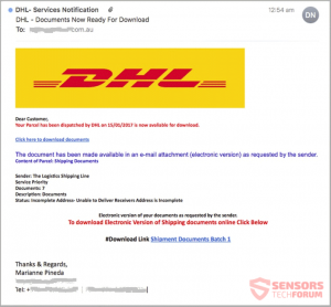 scam emails looking like a legitimate DHL contact email